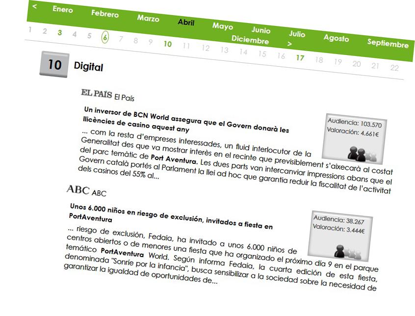 Ejemplo de dossier de prensa con la opción de visualización de audiencia y valoración económica de la noticia