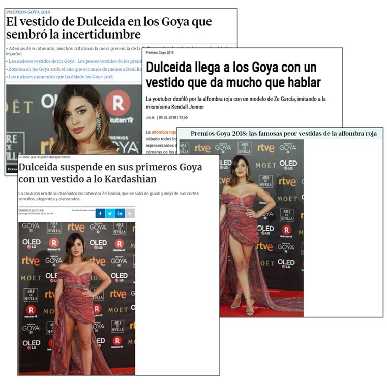 clipping de medios Dulceida - Premios Goya