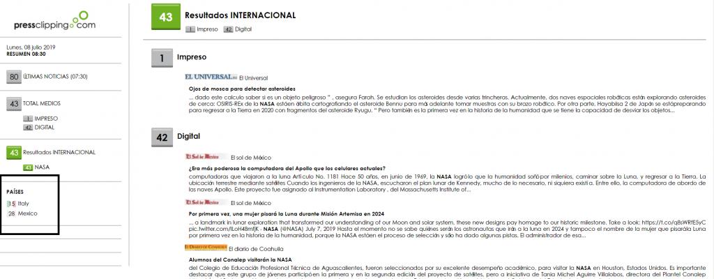 Imagen: Ejemplo de clipping internacional  de Pressclipping con noticias de México e Italia